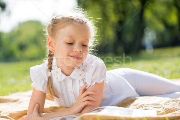 Nyár hétvége park kicsi aranyos lány Stock fotó © adam121