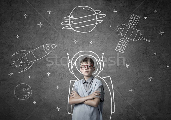 Kindheit Träume Zukunft cute Junge Schule Stock foto © adam121