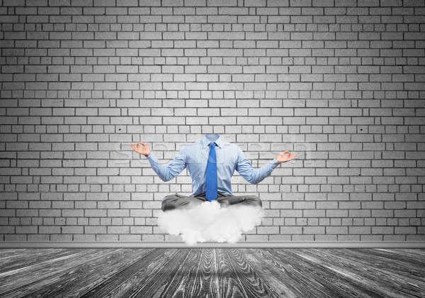 Empresario cabeza sesión nube loto plantean Foto stock © adam121