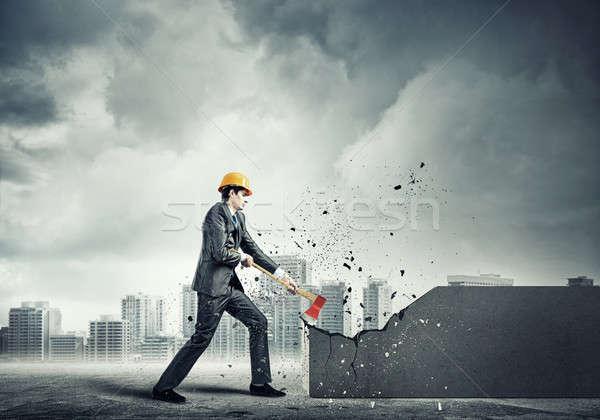 Engineer man break wall Stock photo © adam121