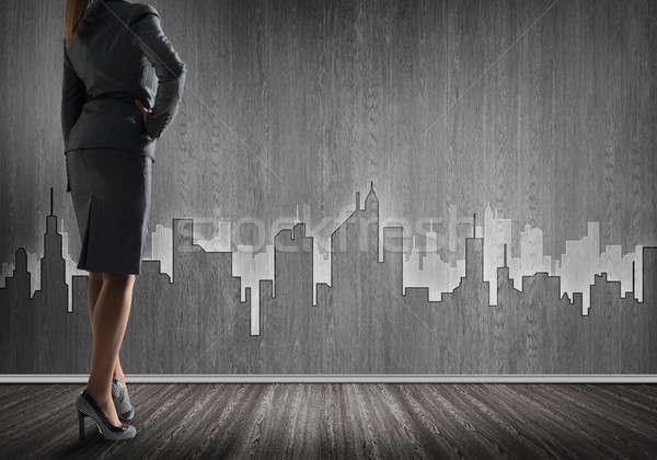 Architectural design mur inférieur vue femme d'affaires Photo stock © adam121