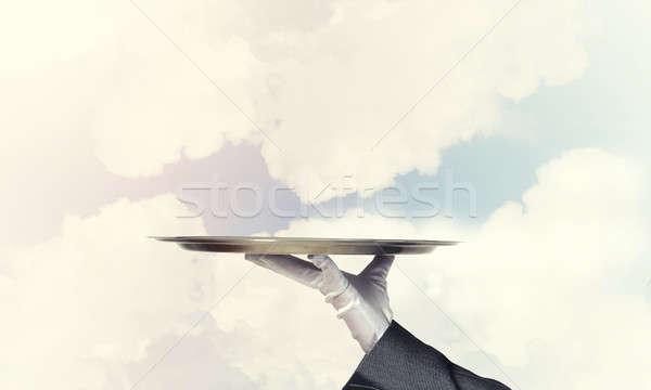 De ober lege zilver klaar product Stockfoto © adam121