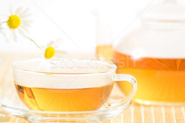 чайная чашка травяной ромашка чай чайник цветок Сток-фото © adam121