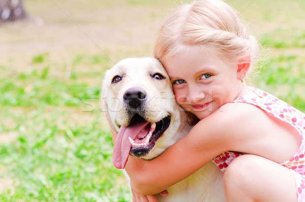 girl hugging a dog Stock photo © adam121