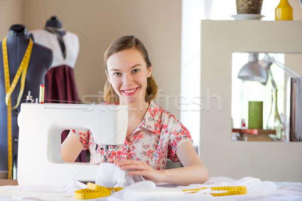 работу молодые привлекательный студию рабочих швейные машины Сток-фото © adam121