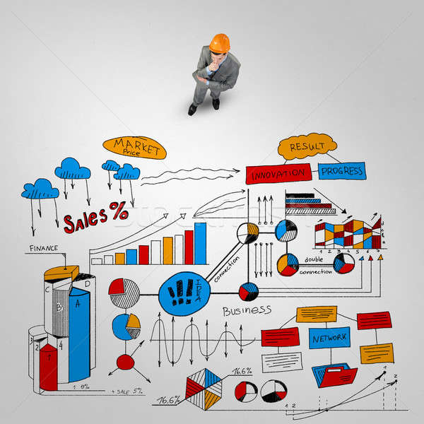 Man engineer thinking over his plan Stock photo © adam121