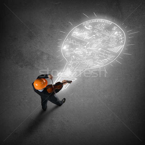 Hombre jugando éxito melodía superior vista Foto stock © adam121