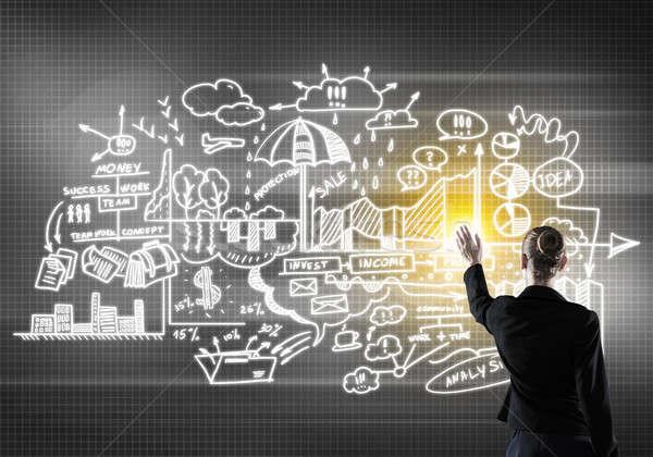Бизнес-стратегия плана вид сзади деловая женщина рабочих виртуальный Сток-фото © adam121