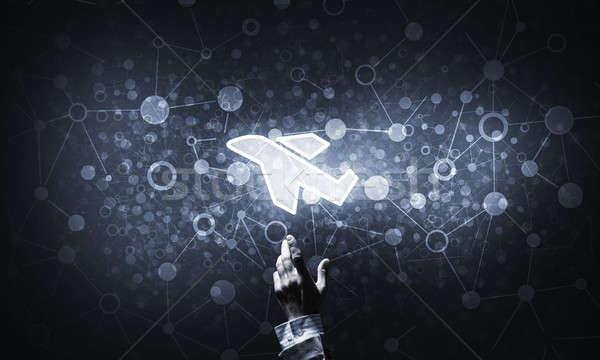 Repülőgép izzó ikon ujj online előre bejelentkezés Stock fotó © adam121