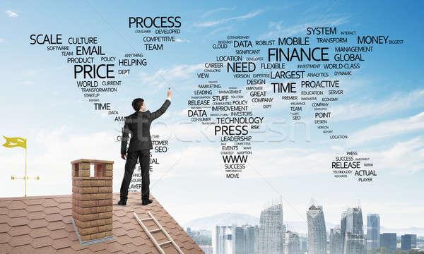 бизнесмен кирпичных крыши обратить Мир карта глобализация Сток-фото © adam121