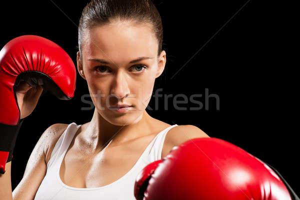 Stock fotó: Portré · nő · boxoló · agresszív · külső · kamera