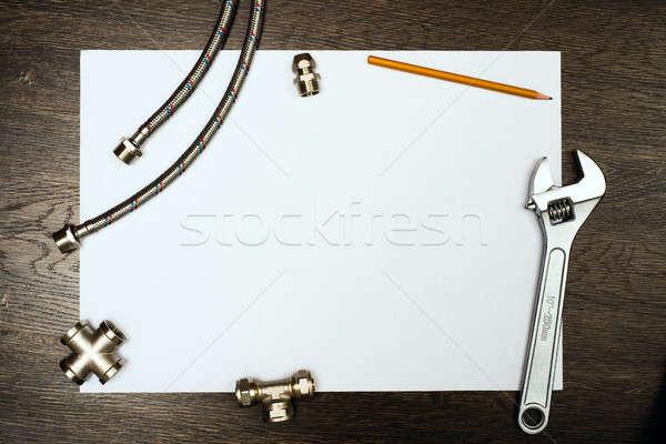 Plomberie outils blanche fiche papier lieu Photo stock © adam121