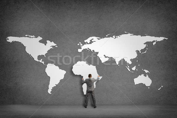 Imprenditore muro continenti continente africa mano Foto d'archivio © adam121