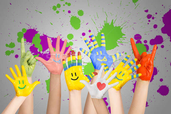 painted children's hands Stock photo © adam121