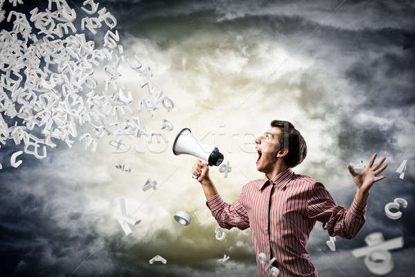 man yells into a megaphone Stock photo © adam121