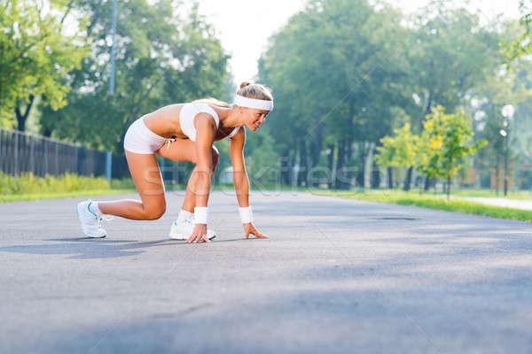 Foto d'archivio: Atleta · inizio · runner · outdoor · piedi