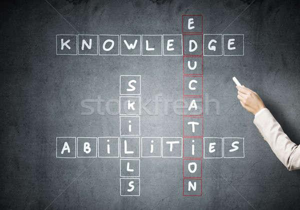 Vrouw trekken kruiswoordraadsel studeren Blackboard Stockfoto © adam121