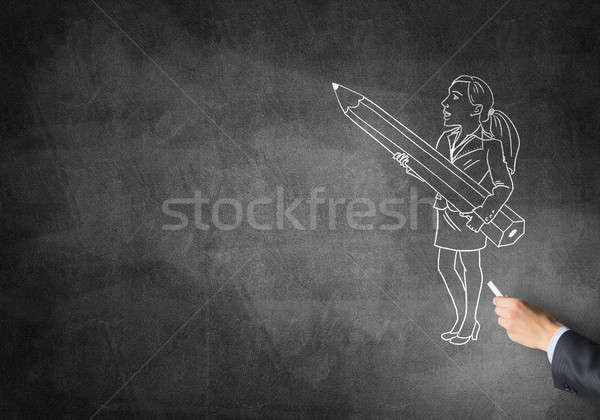 Karikatúra üzletasszony férfi kéz rajz kréta Stock fotó © adam121