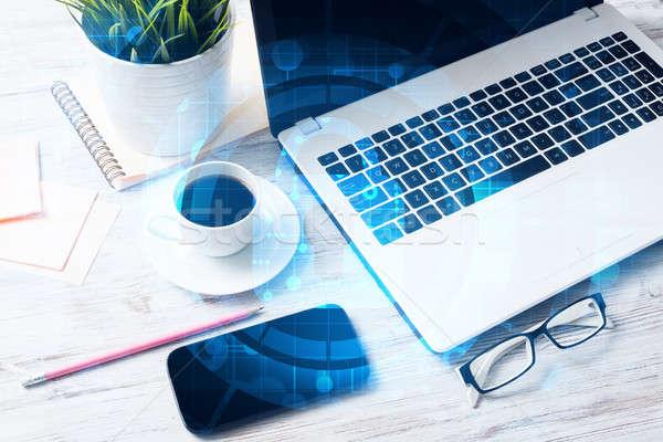 Business werkplek laptop koffiekopje veiligheid scherm Stockfoto © adam121