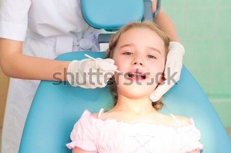 Meisje tandartsen bezoeken tandarts regelmatig man Stockfoto © adam121