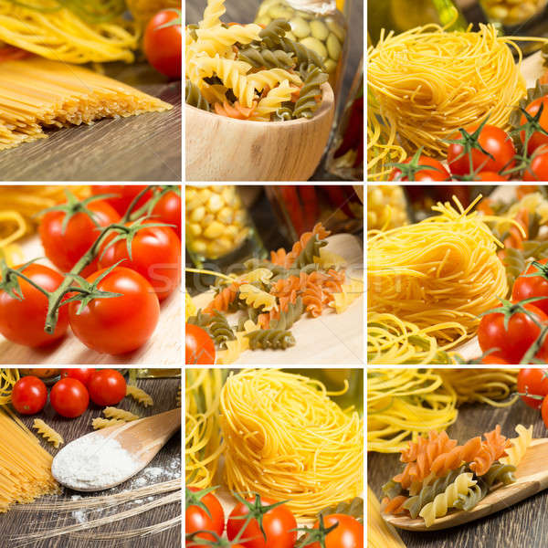 Pasta pomodorini collage parecchi immagini alimentare Foto d'archivio © adam121
