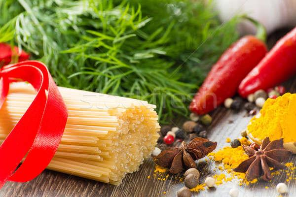 итальянский спагетти овощей пасты специи натюрморт Сток-фото © adam121
