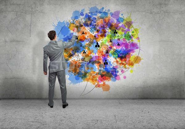 創造的思考 背面図 ビジネスマン 図面 ビジネス 考え ストックフォト © adam121