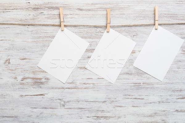Iscritto messaggio carta bianca foglio testo impiccagione Foto d'archivio © adam121