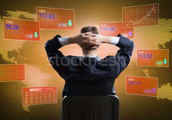 Nyugodt üzletember szék hátulnézet ül kezek Stock fotó © adam121