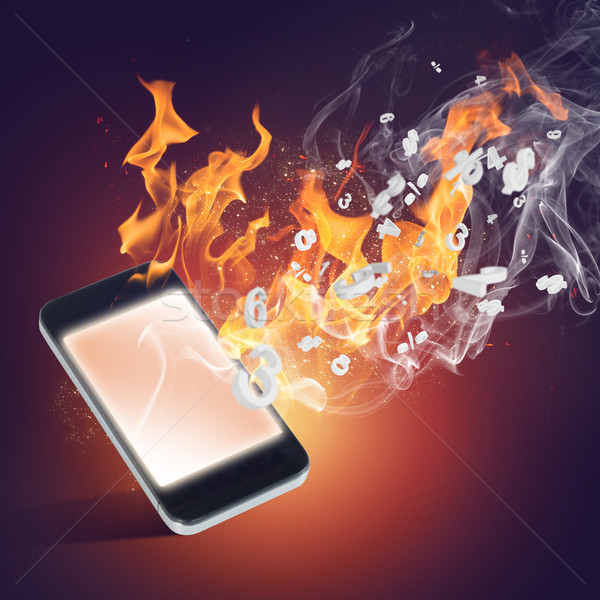 Burning cellphone Stock photo © adam121