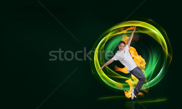 Hip hop danser jonge vrouw brand effect vrouw Stockfoto © adam121