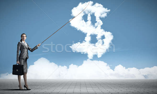Dólar moeda taxa atraente empresária Foto stock © adam121