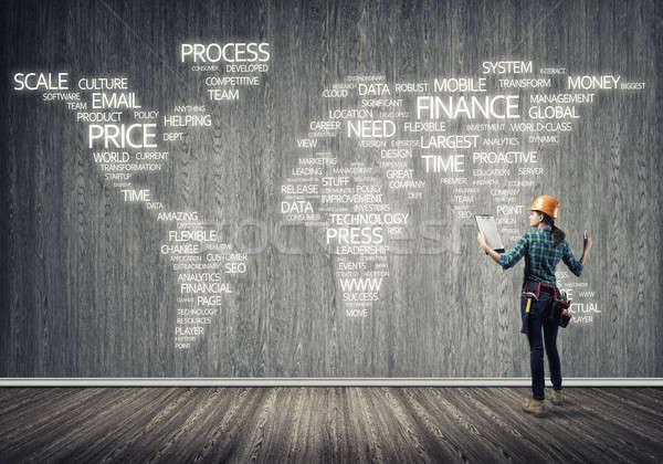 Сток-фото: строительство · глобализация · женщины · комнату · бизнеса