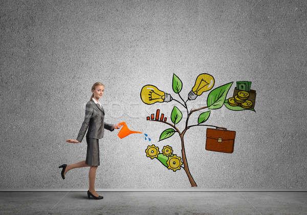 Jeunes femme d'affaires salle vide croissance Photo stock © adam121