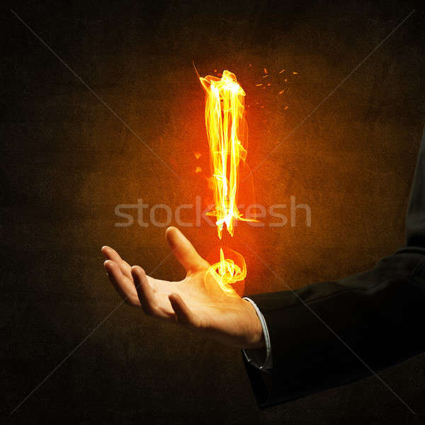 Fuego signo de admiración símbolo palma oscuro Foto stock © adam121