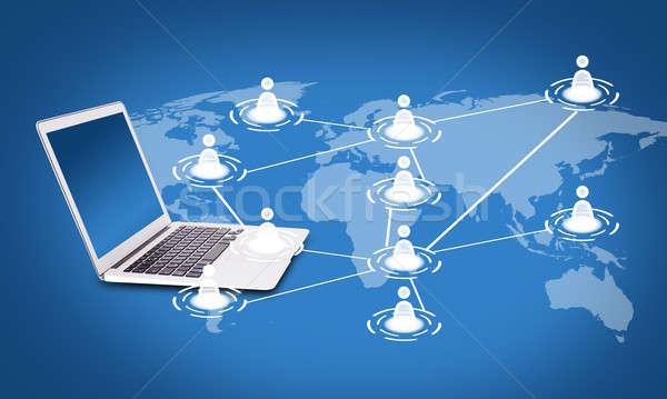 Sociale networking laptop mappa scambio informazioni Foto d'archivio © adam121