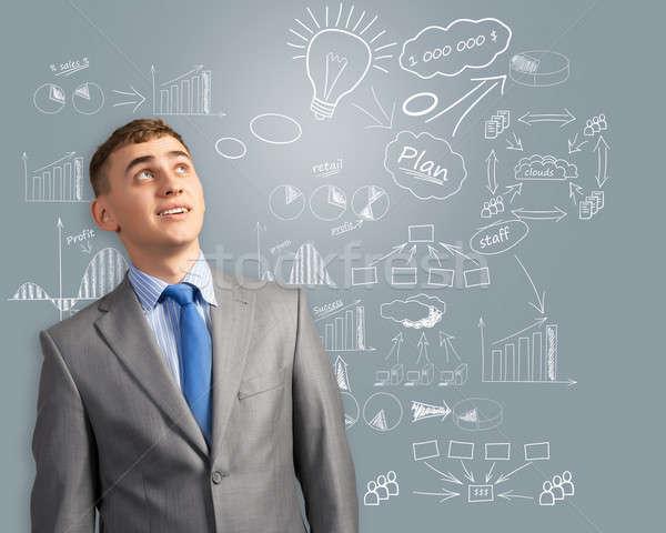 ストックフォト: ビジネスマン · 思考 · 革新 · ビジネス