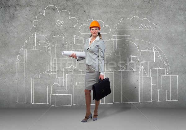 женщину архитектора строительство городского Сток-фото © adam121