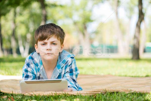 Chłopca lata parku cute Internetu Zdjęcia stock © adam121