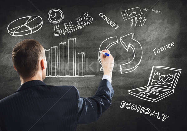 Businessman drawing business strategy Stock photo © adam121