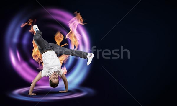 Hip hop ballerino fuoco effetto donna Foto d'archivio © adam121
