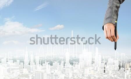 Mühendislik tasarımcı çalışmak el adam çizim Stok fotoğraf © adam121
