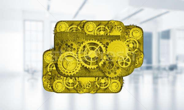 Web simgesi işbirliği grafik dişli motor renk Stok fotoğraf © adam121