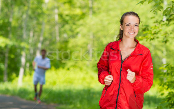 Egészséges fiatal női atléta fut nyár Stock fotó © adam121
