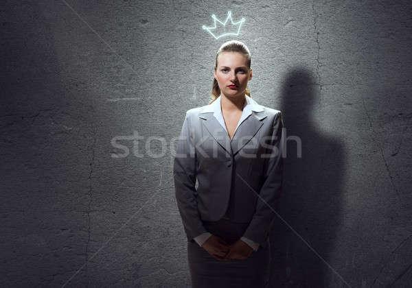 женщину корона молодые честолюбивый деловая женщина голову Сток-фото © adam121