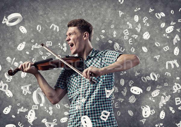 Muzician joc vioară tineri frumos tip Imagine de stoc © adam121