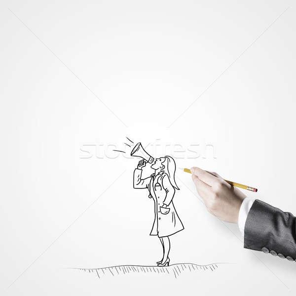 Schiţă Femeie Medic Mână Desen Creion Imagine De