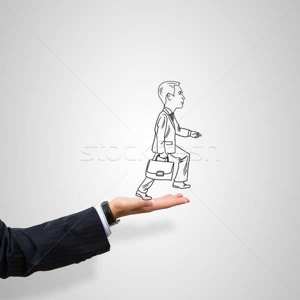 бизнесмен Palm мужчины серый человека Сток-фото © adam121
