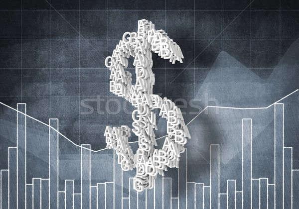 Dólar moeda taxa grande símbolo gráficos Foto stock © adam121