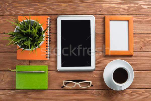 бизнеса натюрморт фото таблетка блокнот кофе Сток-фото © adam121